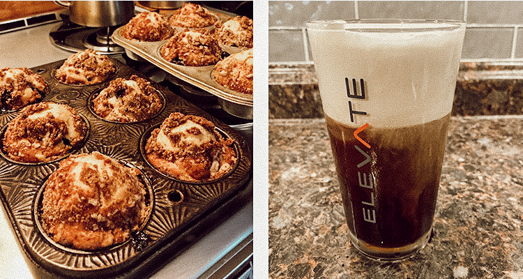 Two pans of freshly baked muffins and a glass of cold foam cold brew coffee