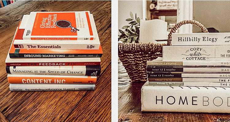 Collections of books and magazines on marketing and home decoration used to improve creative strategy