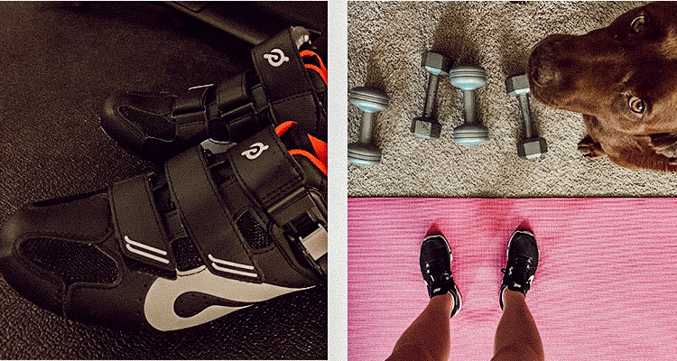 Peloton spin shoes beside a photo of a dog with its owner, ready for a workout