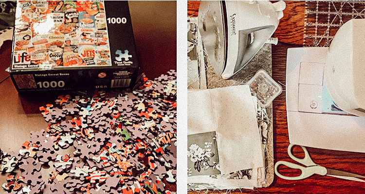A 1000 piece puzzle in progress beside an image of a sewing machine and supplies creatively laid out
